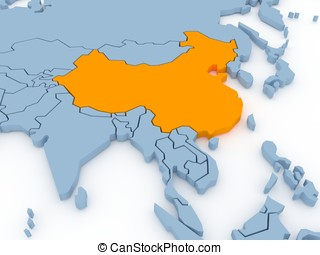Three-dimensional map of China isolated. 3d