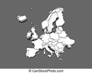 three-dimensional map of Europe