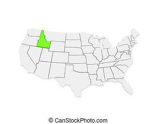 Three-dimensional map of Idaho. USA. 3d