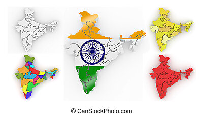 Three-dimensional map of India. 3d