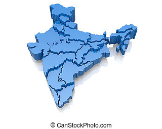 Three-dimensional map of India