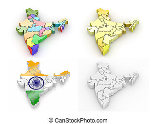 Three-dimensional map of India on white isolated background....