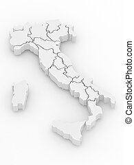 Three-dimensional map of Italy. 3d - Three-dimensional map...