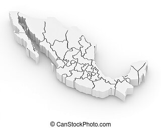 Three-dimensional map of Mexico on white isolated...