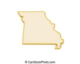 Three-dimensional map of Missouri. USA. 3d