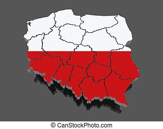 Three-dimensional map of Poland. 3d