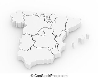 Three-dimensional map of Spain. 3d - Three-dimensional map...