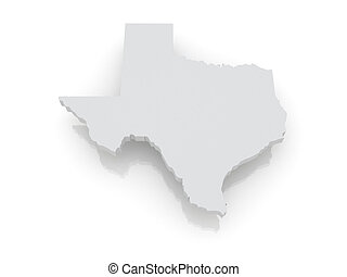 Three-dimensional map of Texas. USA. 3d