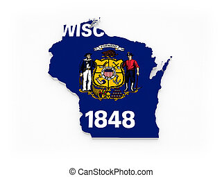 Three-dimensional map of Wisconsin. USA. 3d