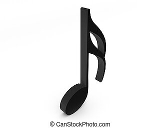 three dimensional melody music notes with treble clef