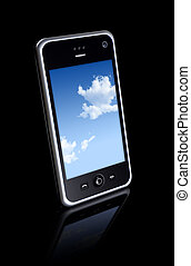 three dimensional mobile phone isolated on black whith clipping path