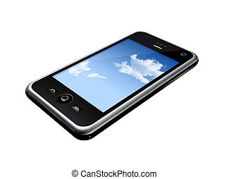 mobile phone - three dimensional mobile phone isolated on...