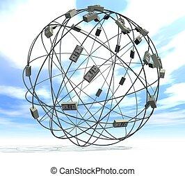 three-dimensional network of the world monetary