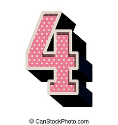 three-dimensional number four dotted in pink color