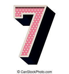 three-dimensional number seven dotted in pink color