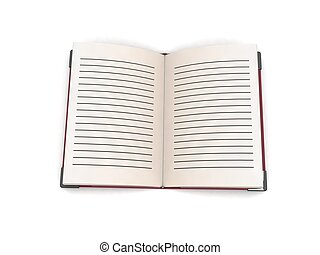 three dimensional open book against white background