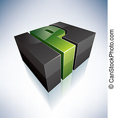 Three-dimensional P Letter - 3D P green logo letter (part of...