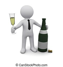 Three-dimensional person with a glass of champagne and a...