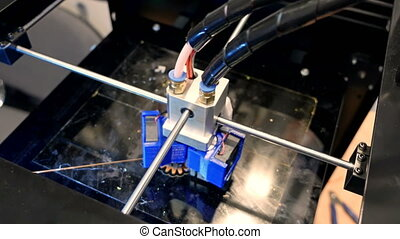 Three dimensional plastic 3d printer in laboratory