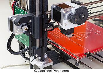 Three dimensional printer - Detail of a 3D printer ready