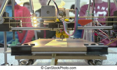 Three Dimensional Printer - Front look at 3D printer with...