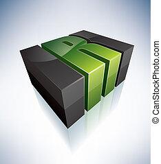 Three-dimensional R Letter