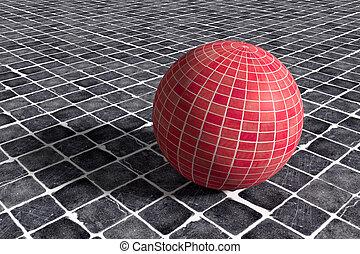 Three-dimensional red ceramic sphere on black ceramic floor