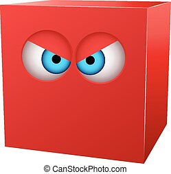 Three-dimensional red cube with eyes. Vector illustration