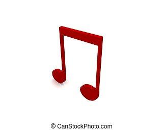 three dimensional red music note - three dimensional music...