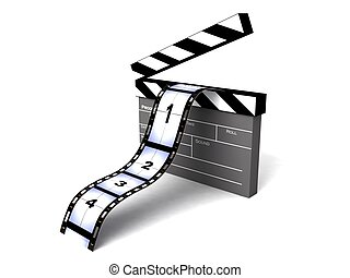 three dimensional  rendered clapperboard with filmstrips