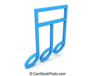 three dimensional rendered music notes with white background