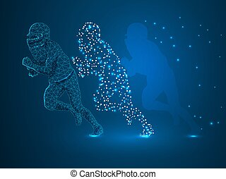 Three-dimensional running American football player in action with the ball, made from lines, triangles, point connecting network on blue background. Low-poly wireframe Vector polygonal illustration