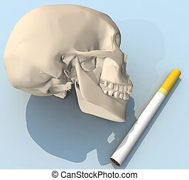 three-dimensional skull with cigare