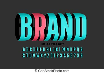 Three dimensional style font design, alphabet letters and ...