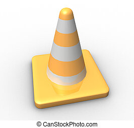 three-dimensional Traffic cone on a white background