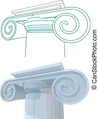 three-dimensional visualization of a column capital