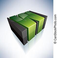 3D W green logo letter (part of the 3D Alphabet Icons Set) EPS v. 10