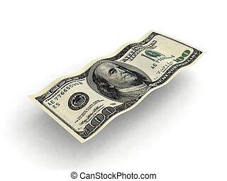 one hundred dollar bill - three dimensional wavy one hundred...