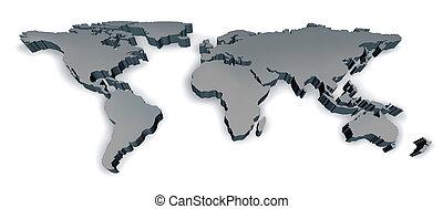 Three Dimensional World Map - Three dimensional grey world...