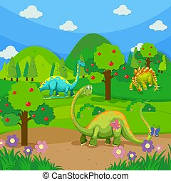 Three dinosaurs in the forest