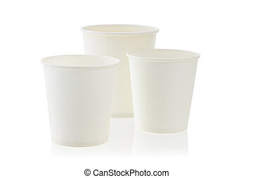 Empty disposable paper cups on white background
