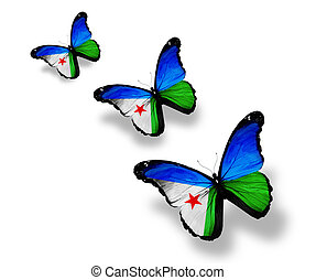 Three  Djibouti flag butterflies, isolated on white