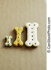 Three dog dry food biscuits