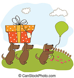 three dogs that offer a big gift. birthday greeting card
