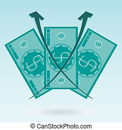 Three dollar bill, diagram of growth. The rise of the exchange rate, profit, investment money.