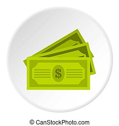 Three dollar bills icon circle - Three dollar bills icon in...