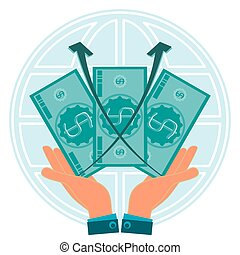 Three dollar bills in hands on background of the globe. The growth of the exchange rate, profit growth. World capital.
