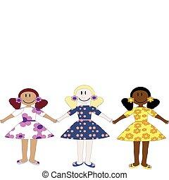 Three dolls back.