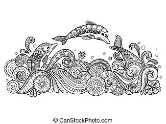 Three dolphins - Hand drawn zentangle three dolphins with...