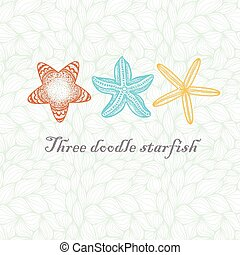 Three doodle textured starfish. - Three colored doodle...